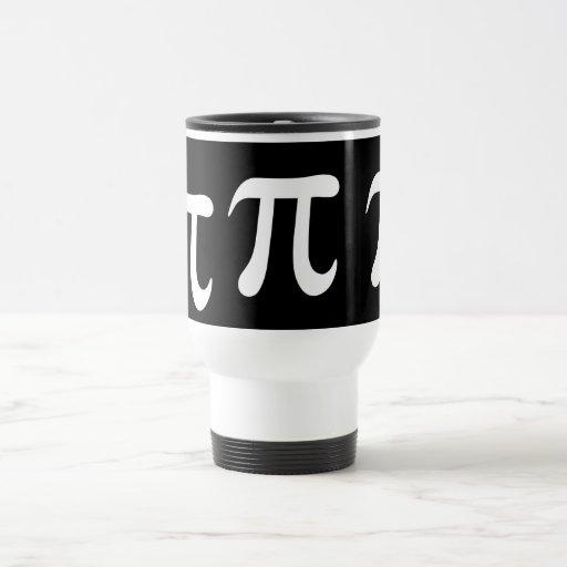 Símbolo blanco del pi en fondo negro taza de viaje