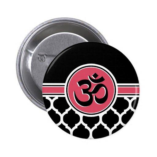 Símbolo blanco negro rosado de la yoga pin