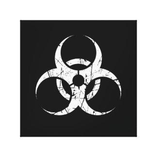 Símbolo blanco rasguñado del Biohazard en negro Lienzo Envuelto Para Galerias