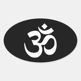 Símbolo blanco y negro de OM Pegatina Ovalada