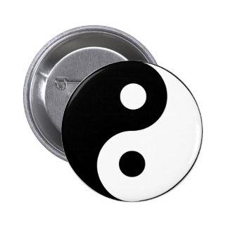 Símbolo blanco y negro de Ying Yang Pin Redondo De 2 Pulgadas