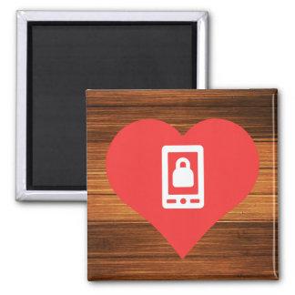Símbolo bloqueado de los smartphones imán cuadrado