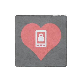Símbolo bloqueado de los smartphones imán de piedra
