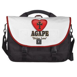 Símbolo boquiabierto del corazón para el amor divi bolsas para portátil