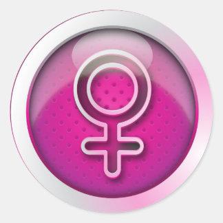 Símbolo brillante de la mujer del género del pegatina redonda