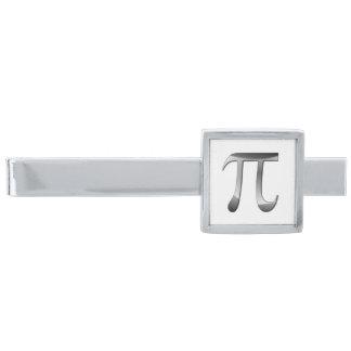 Símbolo brillante de la plata pi alfiler de corbata plateado
