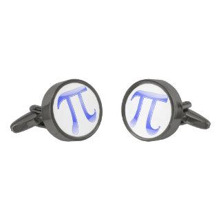 Símbolo brillante del azul pi gemelos metalizados