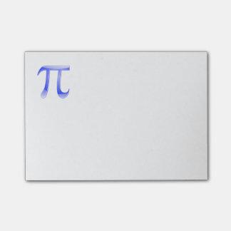 Símbolo brillante del azul pi notas post-it®