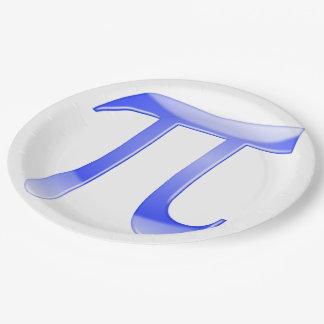Símbolo brillante del azul pi plato de papel 22,86 cm