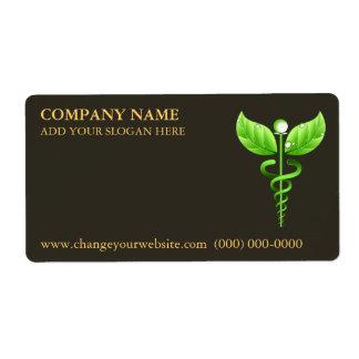 Símbolo Brown del caduceo del verde de la medicina Etiqueta De Envío
