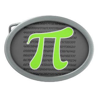 Símbolo chartreuse, de neón del verde pi hebilla de cinturon oval