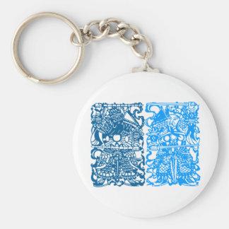 Símbolo chino antiguo: Dios de la puerta (V1) Llavero Redondo Tipo Pin
