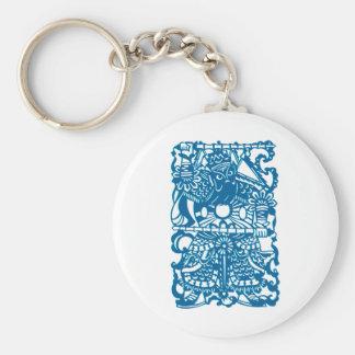 Símbolo chino antiguo: Dios de la puerta (V2) Llavero Redondo Tipo Pin