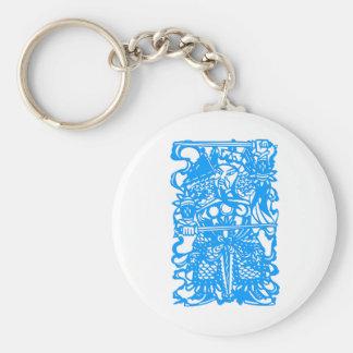 Símbolo chino antiguo: Dios de la puerta (V3) Llavero Redondo Tipo Pin