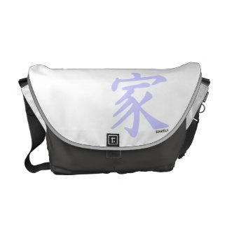 Símbolo chino azul de la familia de la lavanda bolsa de mensajeria