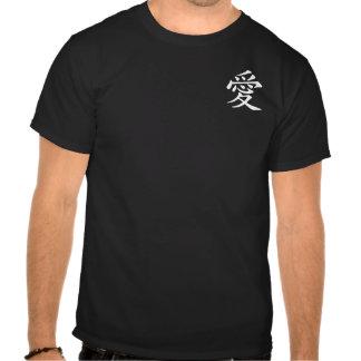 Símbolo chino blanco del amor camisetas