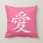 Símbolo chino blanco rosado del amor almohadas