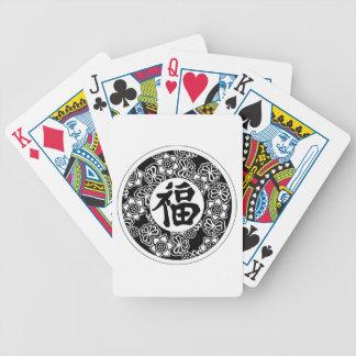 Símbolo chino de la buena fortuna barajas de cartas