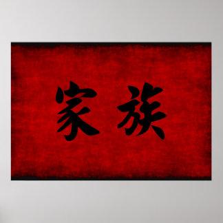 Símbolo chino de la caligrafía para la familia en póster
