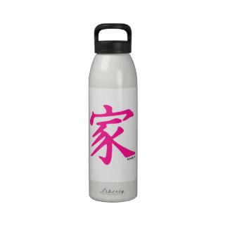 Símbolo chino de la familia de las rosas fuertes botella de beber