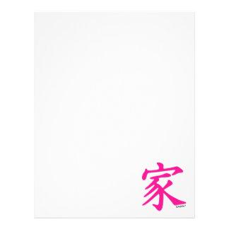 Símbolo chino de la familia de las rosas fuertes membrete