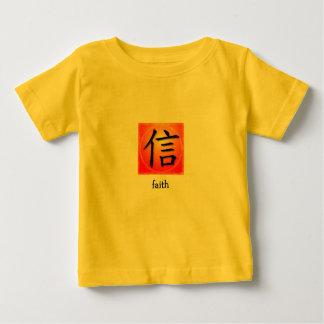 Símbolo chino de la fe de la camiseta infantil en remera