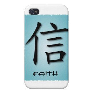 símbolo chino de la fe de los casos del iPhone 4 e iPhone 4 Funda