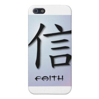 símbolo chino de la fe de los casos del iPhone 4 e iPhone 5 Fundas