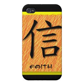 símbolo chino de la fe de los casos del iPhone 4 e iPhone 4 Carcasa