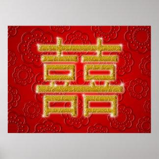 Símbolo chino de la felicidad del doble del boda póster