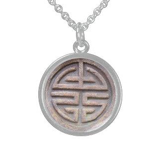 Símbolo chino de la longevidad collar personalizado