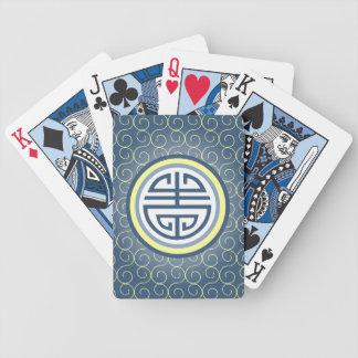 Símbolo chino de la longevidad de Shou • Azul y Cartas De Juego