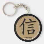 Símbolo chino de los llaveros para la fe en bambú