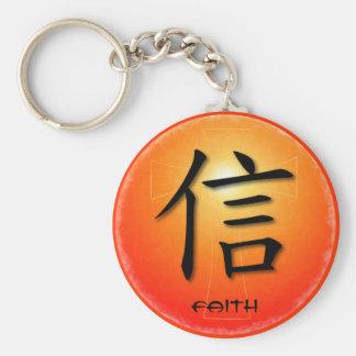 Símbolo chino de los llaveros para la fe en cruz d