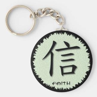 Símbolo chino de los llaveros para la fe en la est