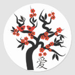 Símbolo chino del amor del cerezo de Sakura de los Pegatina Redonda