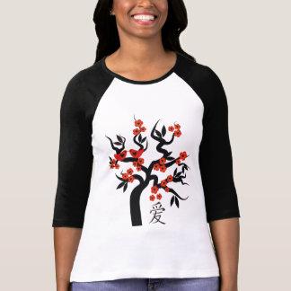 Símbolo chino del amor del cerezo de Sakura de los Camiseta