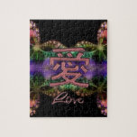 Símbolo chino del amor en fractal colorido rompecabezas con fotos