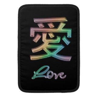 Símbolo chino del ~ del amor del arco iris para el funda  MacBook