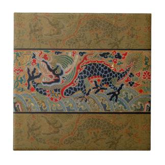 Símbolo chino del dragón del vintage de la fuerza azulejo cuadrado pequeño
