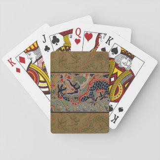 Símbolo chino del dragón del vintage de la fuerza baraja de póquer