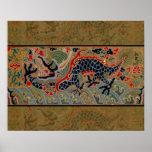 Símbolo chino del dragón del vintage de la fuerza posters