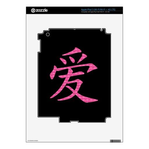 Símbolo chino japonés del amor de corazones iPad 3 skin