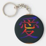 Símbolo chino para el amor llaveros personalizados