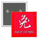 Símbolo chino para el conejo año del conejo pins