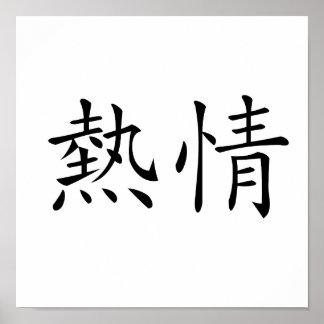 Símbolo chino para el entusiasmo poster