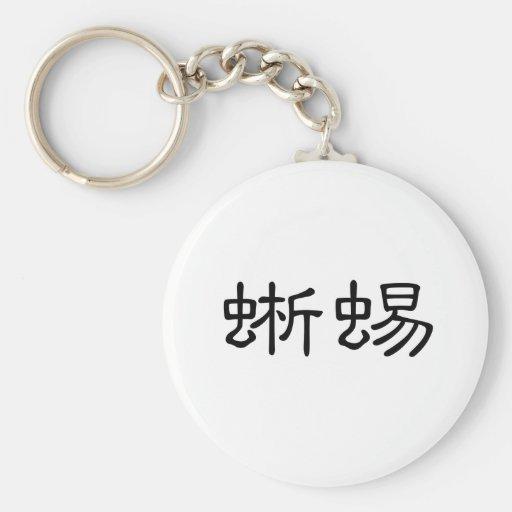 Símbolo chino para el lagarto llavero redondo tipo pin