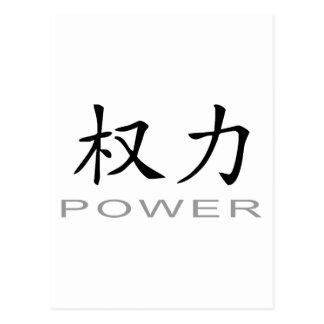 Símbolo chino para el poder tarjetas postales