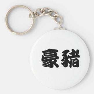 Símbolo chino para el puerco espín llavero redondo tipo pin