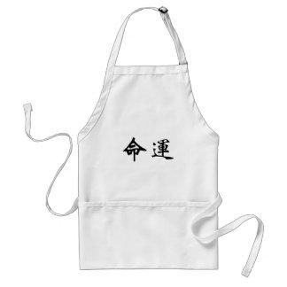Símbolo chino para el sino, destino delantales